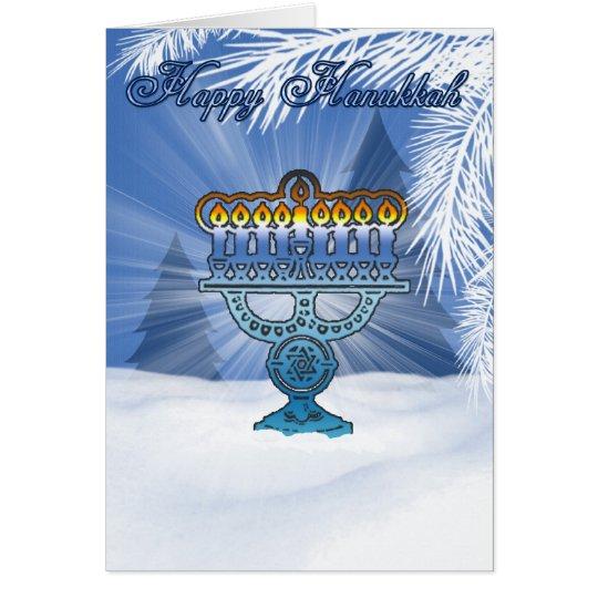 paisaje del invierno de la tarjeta del hannukah