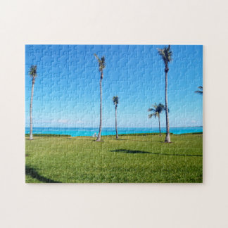 Paisaje del océano y de la palma puzzle