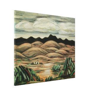 Paisaje del vintage, escena del desierto de impresión en lienzo