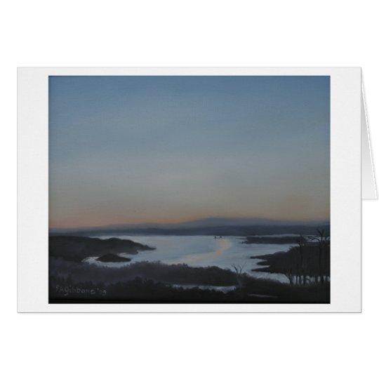 Paisaje en blanco del río Hudson de la tarjeta de