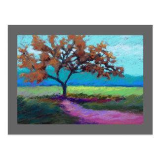 paisaje en colores pastel postal