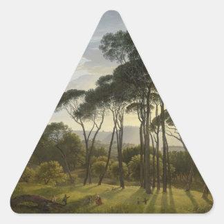 Paisaje italiano con la pintura al óleo de los pegatina triangular