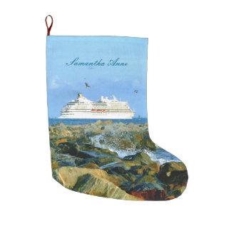 Paisaje marino con el barco de cruceros calcetín navideño grande