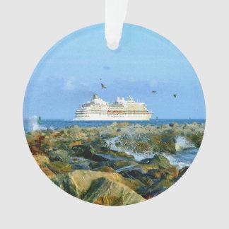 Paisaje marino con el personalizado del barco de adorno