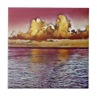 Paisaje marino de oro color de rosa magenta azulejo