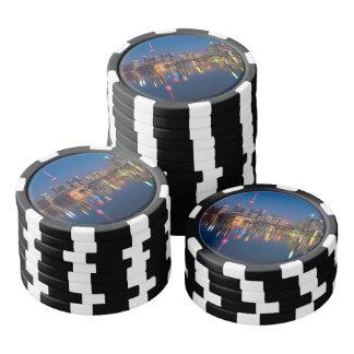 Paisaje urbano de la noche de Toronto Canadá Juego De Fichas De Póquer