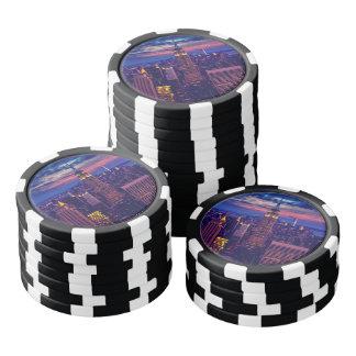 Paisaje urbano de Nueva York en la noche Juego De Fichas De Póquer