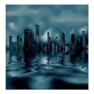 Paisaje urbano oscuro de los azules con póster