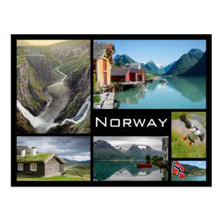 Paisajes en postal negra del collage de Noruega