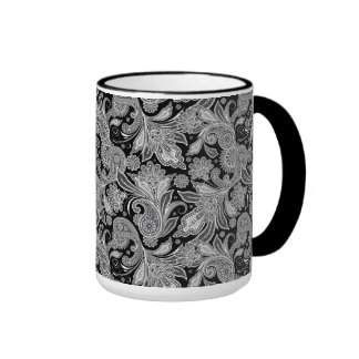 Paisley adornada negra y blanca 2 taza