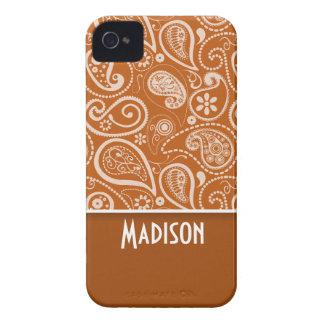 Paisley anaranjada quemada; Floral Case-Mate iPhone 4 Cárcasa