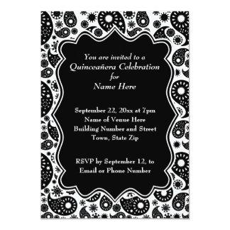 Paisley blanco y negro Quinceanera Invitación 12,7 X 17,8 Cm