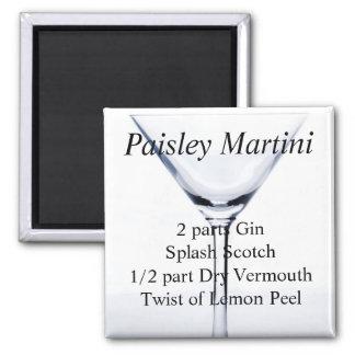 Paisley Martini Imán Cuadrado