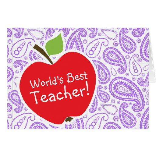 Paisley púrpura; Apple para el profesor Felicitación
