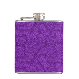 Paisley púrpura petaca