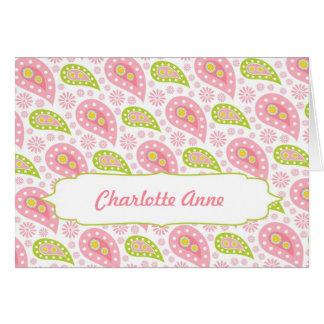 Paisley rosada agradece le para observar/nombre tarjeta pequeña