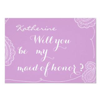 Paisley violeta elegante usted será mi criada del invitación 12,7 x 17,8 cm