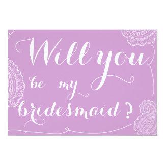 Paisley violeta elegante usted será mi dama de invitación 12,7 x 17,8 cm