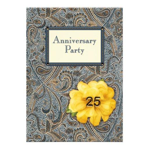 Paisley y fiesta de aniversario color de rosa 25 invitacion personalizada