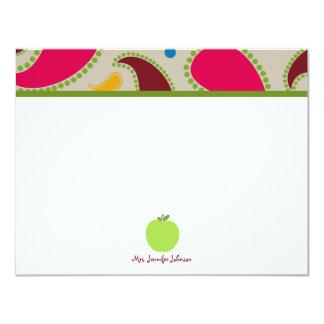 Paisley y Notecard plano personalizado Apple verde Invitaciones Personales