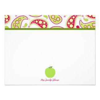 Paisley y Notecard plano personalizado Apple verde Comunicado Personal