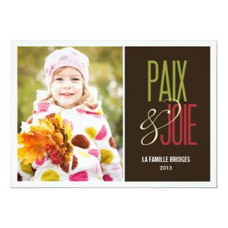 Paix et joie cartes de photo de vacances invitación 12,7 x 17,8 cm