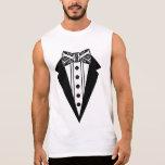 Pajarita blanco y negro con Tux Camisetas Sin Mangas