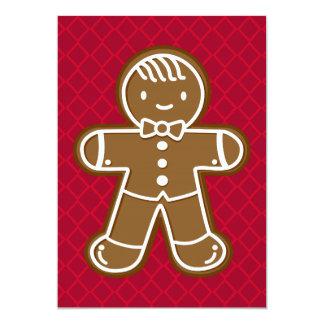 Pajarita feliz de la galleta del hombre de pan de invitación 12,7 x 17,8 cm