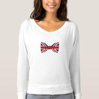 Pajarita larga de Union Jack de la camiseta de la
