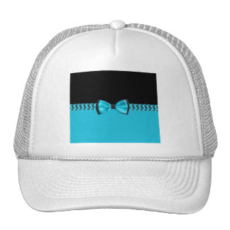 Pajarita y cinta con clase de las azules turquesas gorros