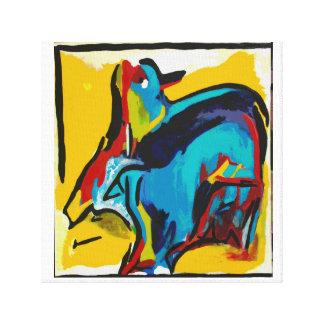 Pájaro abstracto colorido en rojos, azules, y impresion de lienzo