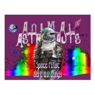 Pájaro animal de los astronautas postal