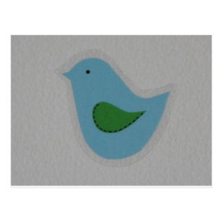 pájaro azul con el ala verde postal