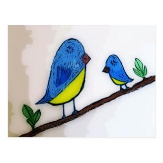 Pájaro azul con la madre postal