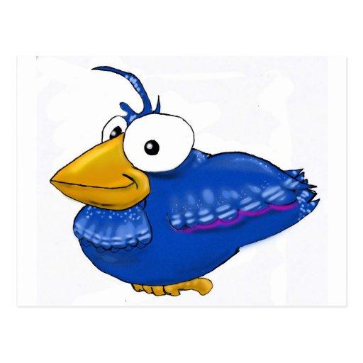 Pájaro azul de la felicidad postal