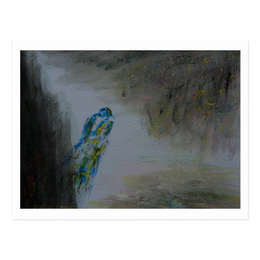 """Pájaro azul de la pintura del aguazo """"2"""" tarjetas postales"""