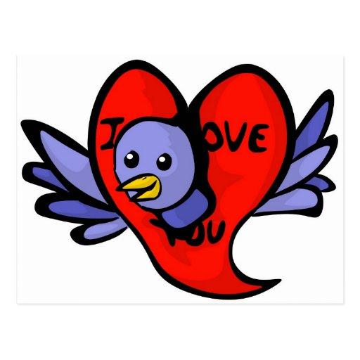 Pájaro azul de la postal del día de San Valentín