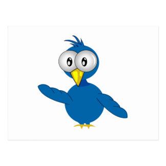 Pájaro azul Grande-Observado del dibujo animado Postal