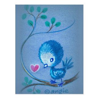Pájaro azul lindo postal