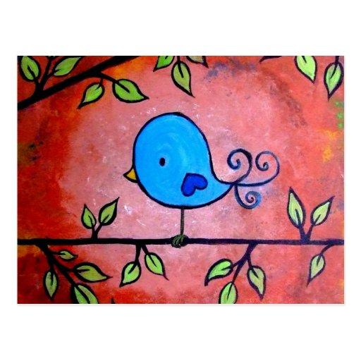 Pájaro azul oxidado tarjeta postal