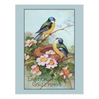 Pájaro azul Pascua del vintage Postal