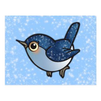 Pájaro azul que brilla postal