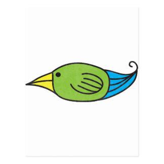 Pájaro azul, verde, amarillo postal
