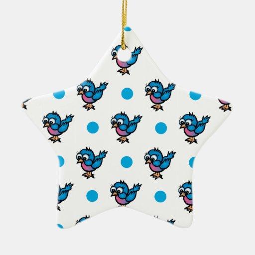 Pájaro azul y rosado lindo del dibujo animado; Lun Adorno