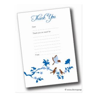 pájaro-bebé-agradecer-usted-nota-azul postal