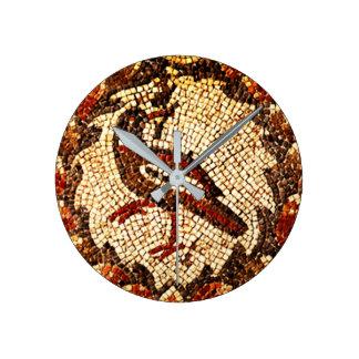 Pájaro bizantino reloj redondo mediano
