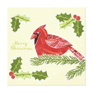 Pájaro cardinal de las Felices Navidad en rama con Impresiones En Lienzo Estiradas