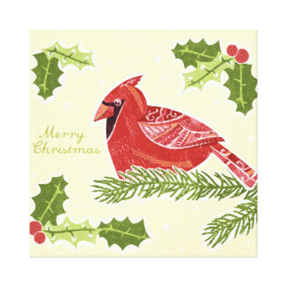Pájaro cardinal de las Felices Navidad en rama con Impresión En Lienzo Estirada