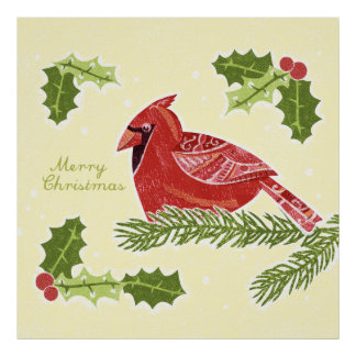 Pájaro cardinal de las Felices Navidad en rama con Poster