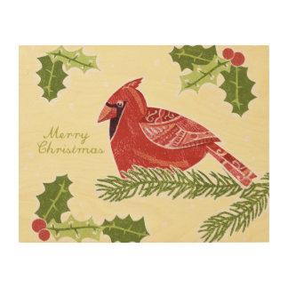 Pájaro cardinal de las Felices Navidad en rama con Cuadro De Madera